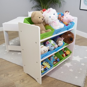 Ourbaby toy organiser with blue and green boxes