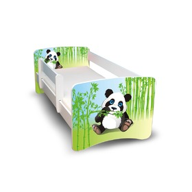 Children's Bed with Safety Rail - Panda
