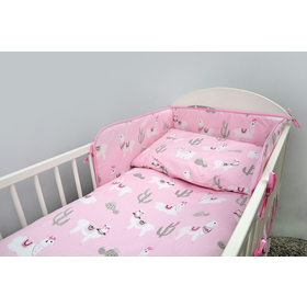 Bedding set for cribs 120x90 cm Lama - pink, Ankras