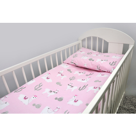 Bedding set for cribs 135x100 cm Lama - pink, Ankras