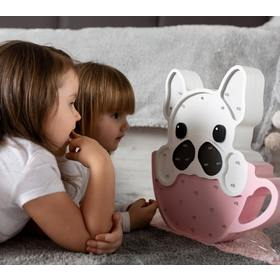Children wood lamp LED lamp Bulldog in cup - pink, Lights My Love