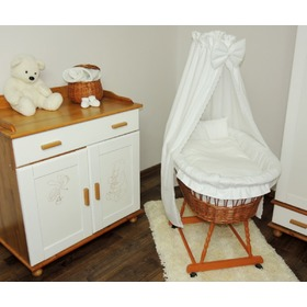Wicker basket for baby with lace set bedding