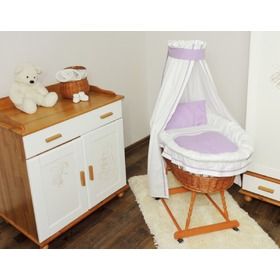 Wicker cot with purple set bedding, Juramba