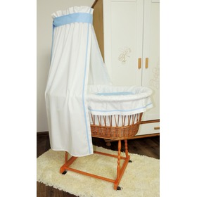 Wicker cot with blue set bedding, Juramba