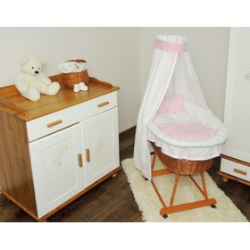 Wicker basket for baby with pink set bedding, Juramba
