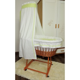 Wicker basket to baby with green set bedding, Juramba