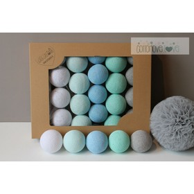 Cotton shining LED balls Cotton Balls - mint pastel, cotton love