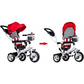 Three-wheeler with guide bars a rotating seat - red, EcoToys