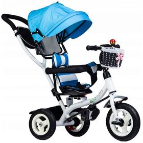 Three-wheeler with guide bars a rotating seat - blue, EcoToys