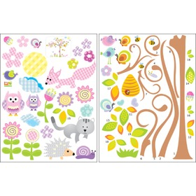 Floral tree with little animal, Mint Kitten