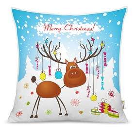 Christmas children pillow - reindeer with gifts