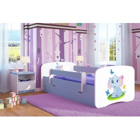 Children's bed with bed rail Ourbaby - Elephant - blue