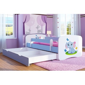 Children's bed with bed rail Ourbaby - Elephant - blue, Ourbaby