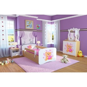 Ourbaby Children's Bed with Safety Rail - Teddy - Beech