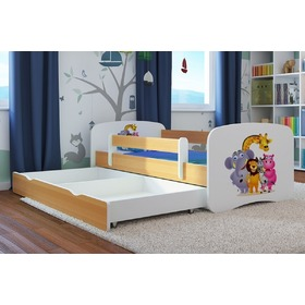 Ourbaby Children's Bed with Safety Rail - ZOO III - beech-white