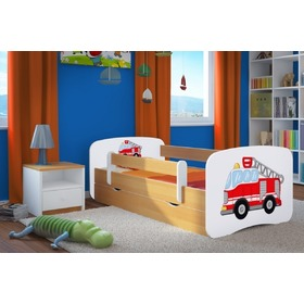 Ourbaby Children's Bed with Safety Rail - Fire Truck - Beech, Ourbaby