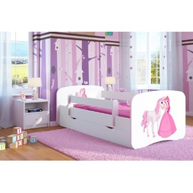 Children bed with bed rail Ourbaby - Princess with pony - white