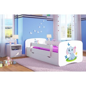 Ourbaby Children's Bed with Safety Rail - Elephant - White