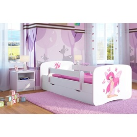 Ourbaby Children's Bed with Safety Rail - Butterfly Fairy - White