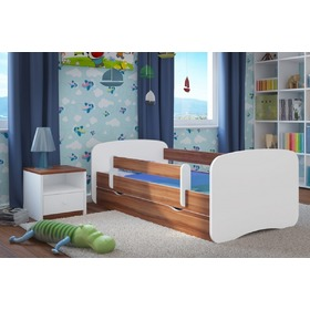 Ourbaby Children's Bed with Safety Rail - Wallnut-White, All Meble