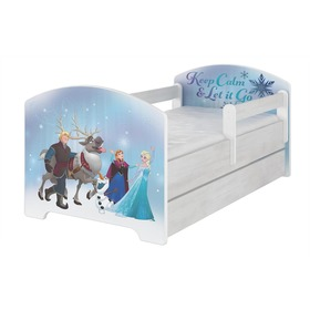 Children's bed with a barrier - Ice Kingdom - Norwegian pine decor, BabyBoo, Frozen