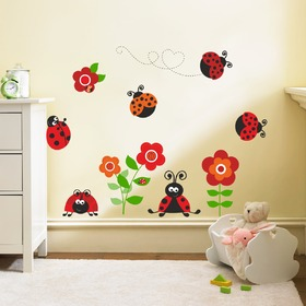Wall Decoration - Ladybirds with Flowers