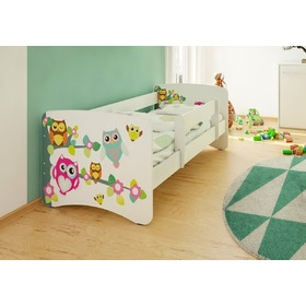 Children's Bed with Safety Rail - Owls
