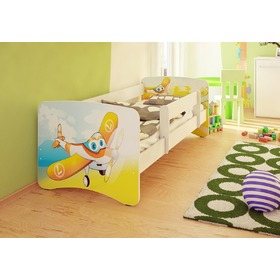 Children's Bed with Safety Rail - Planes