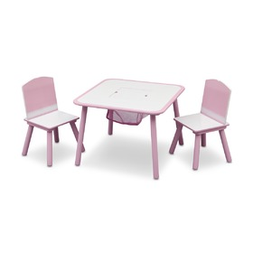 Pink Children's Table with Chairs, Delta