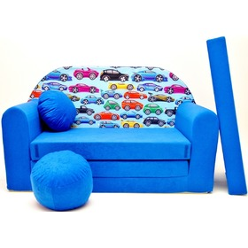 Blue Cars Children's Sofa Bed