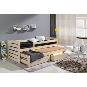 Praktik Children's Trundle Bed with Safety Rail - Natural