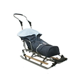 Children's Sledge with a Footmuff and Suspension, Mikrus