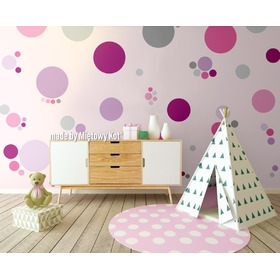 Wall Decoration - Pink Circles and Spots, Mint Kitten