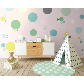 Wall Decoration - Green Circles and Spots, Mint Kitten