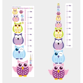 Children's growth chart - Owl, Mint Kitten
