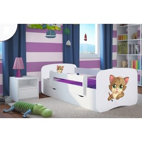 Ourbaby Children's Bed with Safety Rail - Kitty - White, All Meble