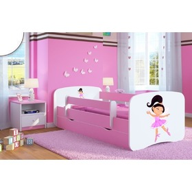 Ourbaby Children's Bed with Safety Rail - Dancer - Pink