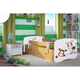 Ourbaby Children's Bed with Safety Rail - Cows - Beech