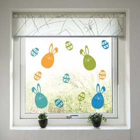 Easter decoration to window - Colorful bunnies and easter eggs, Housedecor