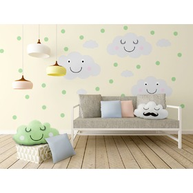Decoration to wall - merry clouds + mint dots