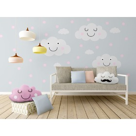 Decoration to wall - merry clouds + pink dots, Mint Kitten