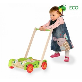 Wooden Baby Push Walker with Building Blocks, EcoToys