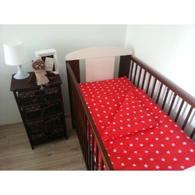Red Stars Baby Cot Bedding Set, Frotti