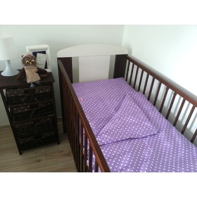 Polka Dot Baby Cot Bedding Set - Purple, Frotti