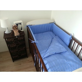 Polka Dot Baby Cot Bedding Set - Blue, Frotti
