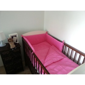 Polka Dot Baby Cot Bedding Set - Pink, Frotti