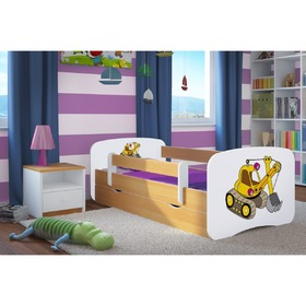 Children bed with barrier Ourbaby - excavator- beech, All Meble