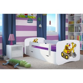 Children bed with barrier Ourbaby - excavator- white