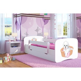 Ourbaby Children's Bed with Safety Rail - Dog - White