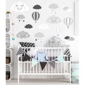 Wall Decoration - Grey-White Clouds and Balloons